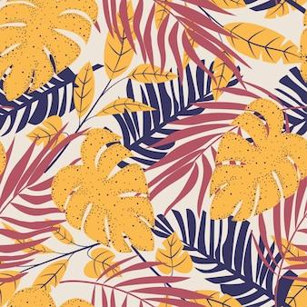 Resumen de patrones sin fisuras con coloridas hojas tropicales y plantas sobre fondo pastel