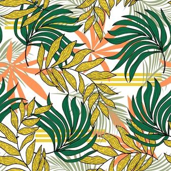 Resumen de patrones sin fisuras con coloridas plantas y hojas tropicales
