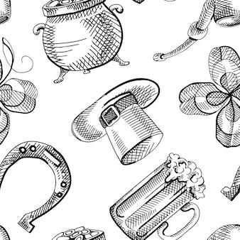 Resumen de patrones sin fisuras del día de san patricio con elementos y símbolos tradicionales de dibujo