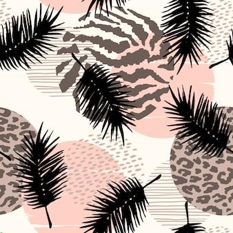 Resumen de patrones sin fisuras con estampado de animales, plantas tropicales y formas geométricas.