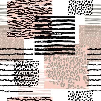 Resumen de patrones sin fisuras con estampado de animales. texturas dibujadas a mano de moda.