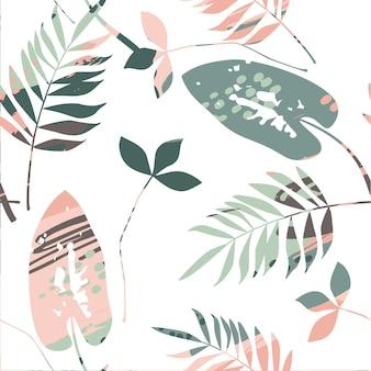 Resumen de patrones sin fisuras florales con texturas de moda dibujado a mano.