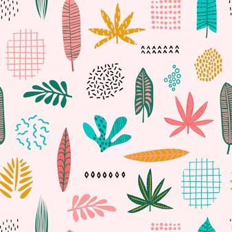Resumen de patrones sin fisuras con hojas tropicales. dibujar a mano textura.