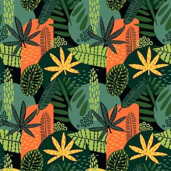 Resumen de patrones sin fisuras con hojas tropicales.