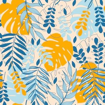 Resumen de patrones sin fisuras con hojas tropicales