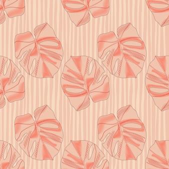Resumen de patrones sin fisuras en tonos pastel con siluetas simples de monstera.