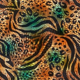 Resumen de patrones geométricos sin fisuras con estampado de animales