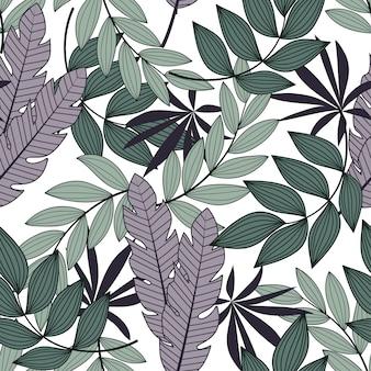 Resumen de patrones tropicales sin fisuras con hojas y plantas brillantes sobre un fondo blanco