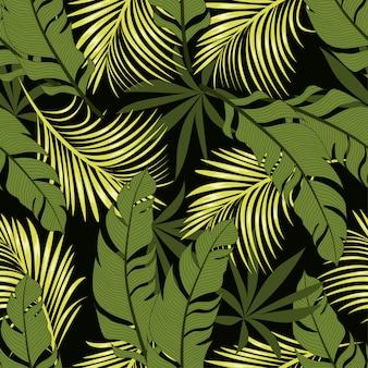Resumen de patrones tropicales sin fisuras con hojas y plantas brillantes sobre un fondo negro