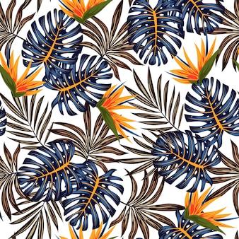 Resumen de patrones tropicales sin fisuras con plantas brillantes y hojas en un delicado
