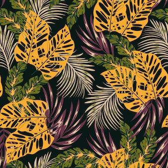 Resumen de patrones tropicales sin fisuras con plantas brillantes y hojas en un oscuro