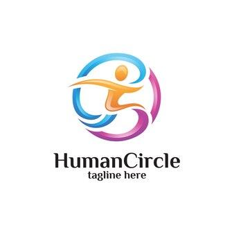 Resumen personas humanas y logotipo del círculo