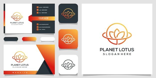 Resumen planeta y flor rosa logo y tarjeta de visita