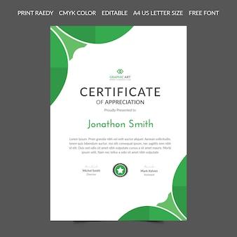 Resumen de plantilla de certificado