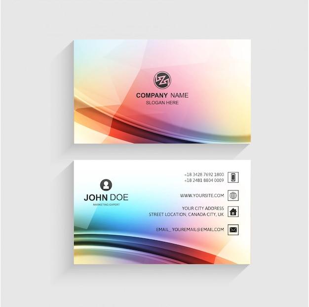Resumen plantilla de tarjeta de visita con vector de diseño de onda