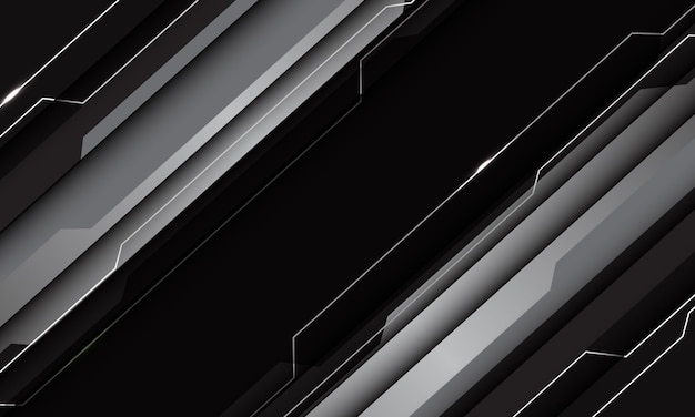 Resumen plata gris negro metálico tecnología geométrica ciber circuito línea futurista diseño de barra moderna
