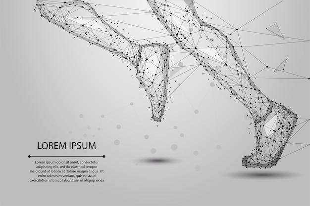 Resumen poligonal patas corriendo de líneas, triángulos y partículas. ilustración de estructura de alambre de baja poli.
