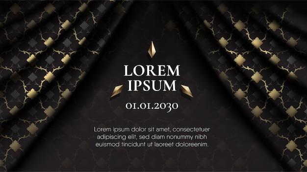 Resumen que conecta el patrón tailandés negro y dorado en la cortina realista