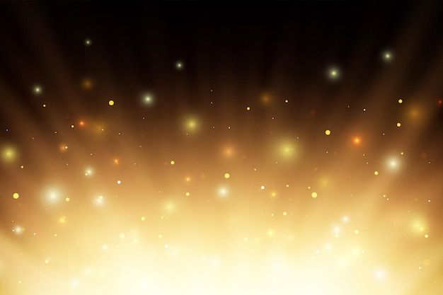 Resumen rayos de luz de fuego ardiente brillante con sparcs y partículas sobre fondo negro.
