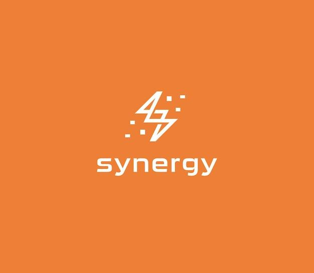 Resumen relámpago plano lineal estilo vector logo concepto energía eléctrica icono aislado en naranja