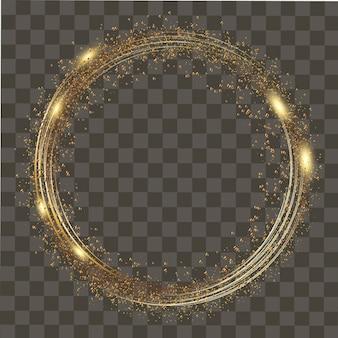 Resumen ronda brillantes luces y destellos de oro sobre fondo transparente