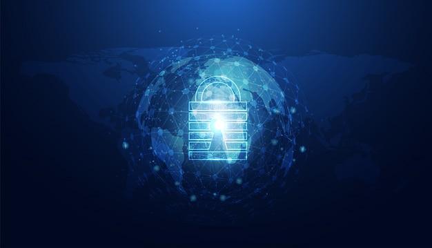Resumen de seguridad cibernética con candado círculo mundial azul