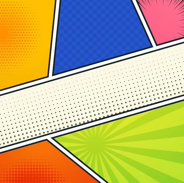 Resumen de seis páginas vacías de cómic colorido diseño punteado