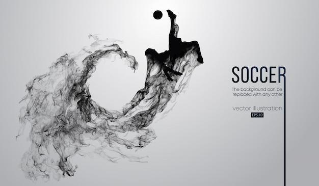 Resumen silueta de un jugador de fútbol sobre fondo negro oscuro de las partículas. jugador de fútbol corriendo saltando con la pelota. liga mundial y europea.