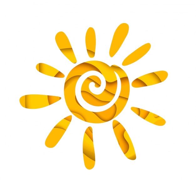 Resumen sol de verano. diseño de logo.