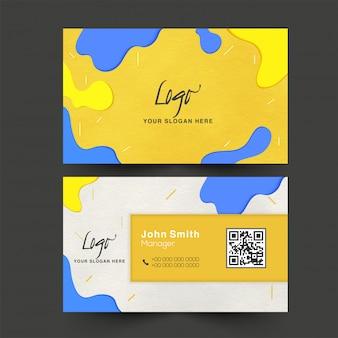 Resumen tarjeta de empresa o tarjeta de visita en la vista frontal y posterior.