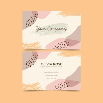 Resumen tarjeta de visita con conjunto de plantillas de manchas de color pastel