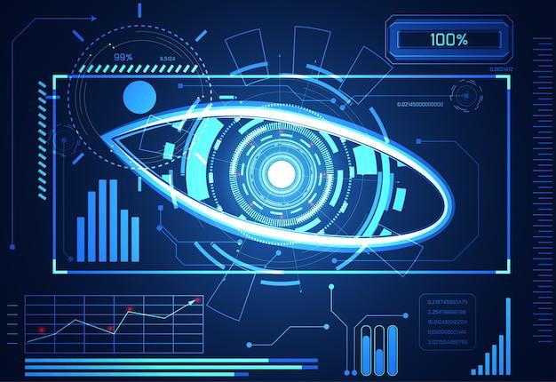 Resumen tecnología ciencia concepto ojo círculo datos