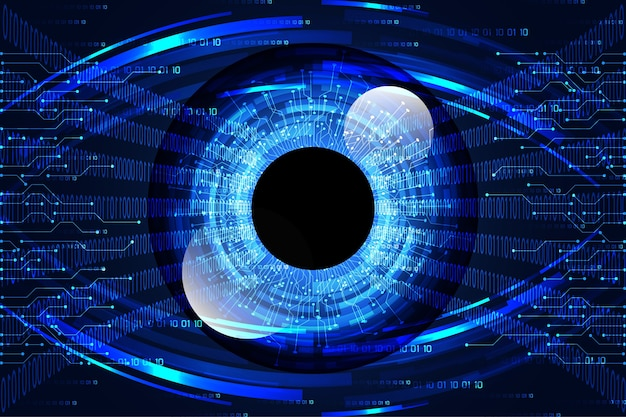 Resumen tecnología ciencia concepto ojo enlace digital y binario alta tecnología sobre fondo azul