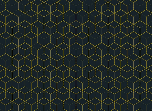 Resumen tecnología de hexágono de color oro mínimo simple moderno patrón de fondo.