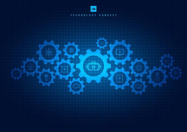 Resumen tecnología integrada de engranajes e iconos