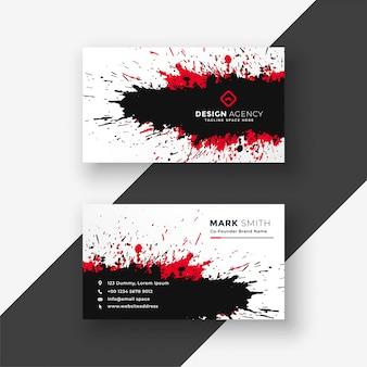 Resumen tinta salpicaduras rojo negro diseño de tarjeta de visita