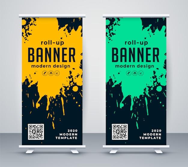 Resumen de tinta splash rollup banner diseño