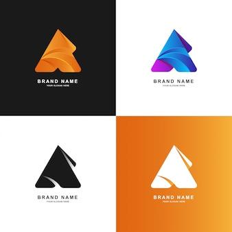 Resumen de triángulo o logotipo de color degradado de letra a