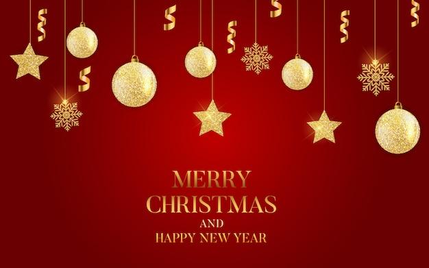 Resumen vacaciones año nuevo y feliz navidad fondo con corona de navidad realista