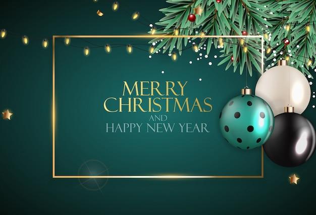 Resumen vacaciones año nuevo y fondo feliz navidad. ilustración vectorial