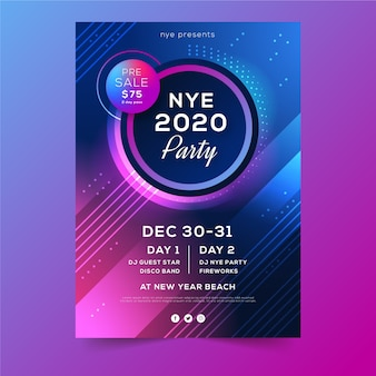 Resumen vacaciones de invierno año nuevo 2020 flyer fiesta