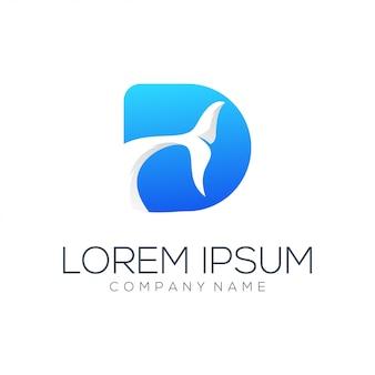 Resumen de vector de diseño de logo de d carta delfín