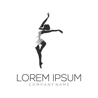 Resumen de vector de diseño de logotipo de bailarina