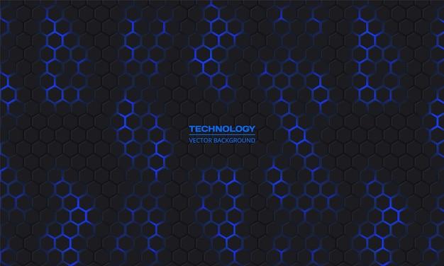 Resumen de vector de tecnología hexagonal oscura