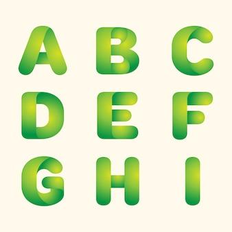 Resumen vector verde deja eco fuente conjunto de letras
