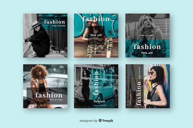 Resumen de venta de moda instagram post set