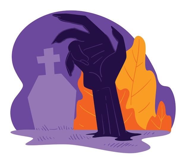 Resurrección de muertos que se levantan de las tumbas. cementerio y mano de zombie desde tierra. fiesta espeluznante de halloween, monstruo malvado del cementerio. celebración festiva de otoño, vector de estilo plano