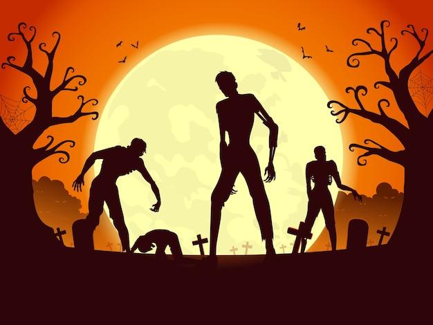 Resurrección de la multitud de zombies y saliendo de la tumba en la noche de luna llena. ilustración de siluetas para el tema de halloween.