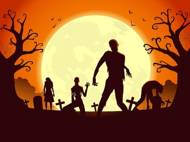 Resurrección zombi de la tumba en noche de luna llena y alboroto. ilustración de siluetas para el tema de la fiesta de la noche de halloween.
