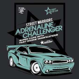 Retador de adrenalina, ilustración de auto súper rápido
